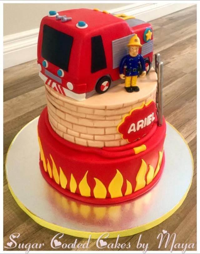 custom cake firefighter kosher bakery