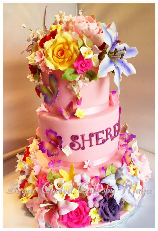 flower custom cake kosher chefness food