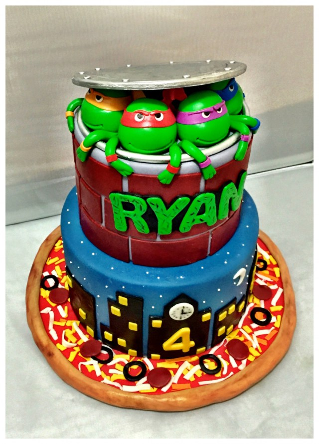Happy Birthday turtle ninja custom cake kosher bakery