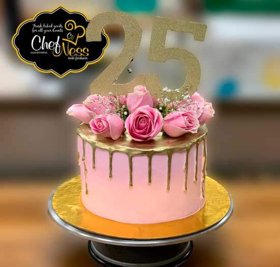Excellent Custom Birthday Cake Chefness Kosher Bakery Chefnessbakery Personalised Birthday Cards Petedlily Jamesorg